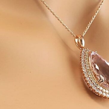 An Exquisite 38.92 Carat Natural Pink Kunzite and Diamond (F-G Color, VS1-VS2 Clarity) 14K Rose Gold Luxury Drop Pendant Necklace