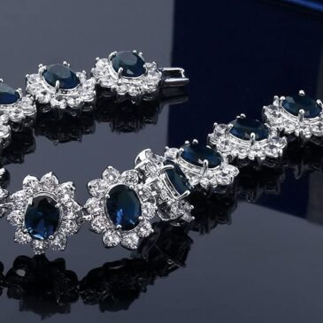 A Gorgeous  27.00 Carat Oval and Round Royal Blue Simulated Sapphire CZ Tennis Bracelet