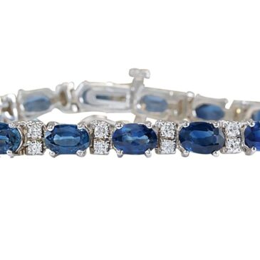 Gorgeous 12.8 Carat Natural Blue Sapphire and Diamond 14K White Gold Tennis Bracelet