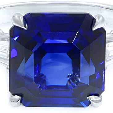 Rachel Koen Octagonal Asscher Cut Sapphire Three Stone Diamond Engagement Ring GRS Platinum 7.18ct