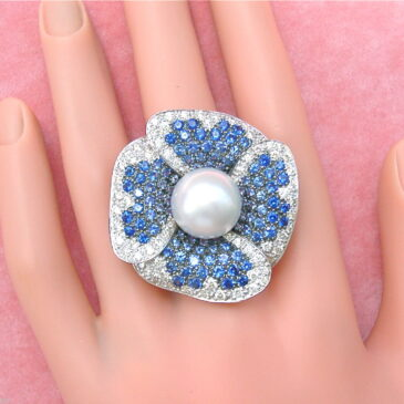 Gorgeous 2.4ctw Diamond 4.5ctw Sapphire South Sea Pearl Flower Ring
