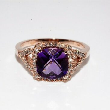 A Gorgeous 2.60Ct Natural Purple Amethyst and Diamond Ring 10K Rose Gold