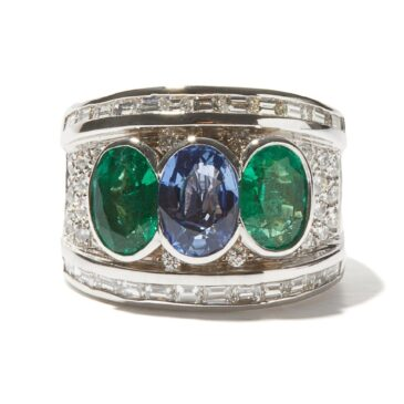 Shay Emerald, Sapphire & Diamonds 18k White Gold Ring