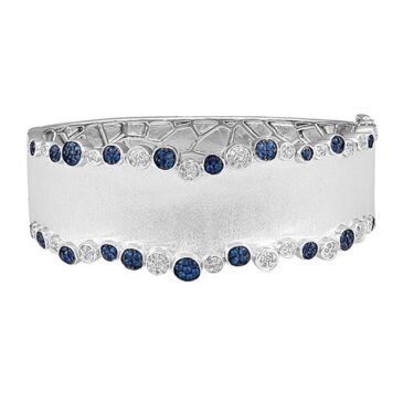 Effy 925 Sterling Silver Blue Sapphire and Diamond Bangle