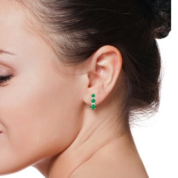 Gorgeous Graduated Emerald and Diamond Journey Earrings