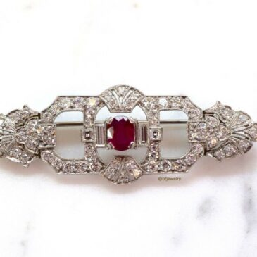Gorgeous Art Deco Platinum Ruby And Diamond Brooch