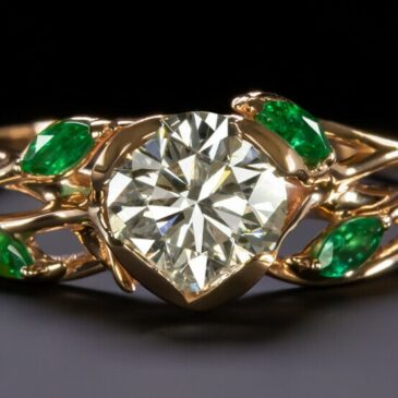 Gorgeous 1.07ct Diamond and Emerald Floral Ring 14K Rose Gold