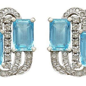 Vintage 7.72 ct Aquamarine and 1.18 ct Diamond 14K White Gold Earrings