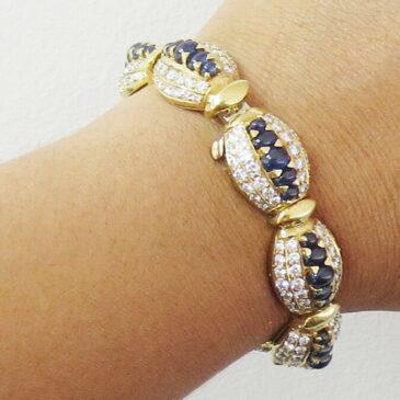 Vintage 12.0ct Diamond & 13.0ct Sapphire 18K Yellow Gold Italian Dome Bracelet