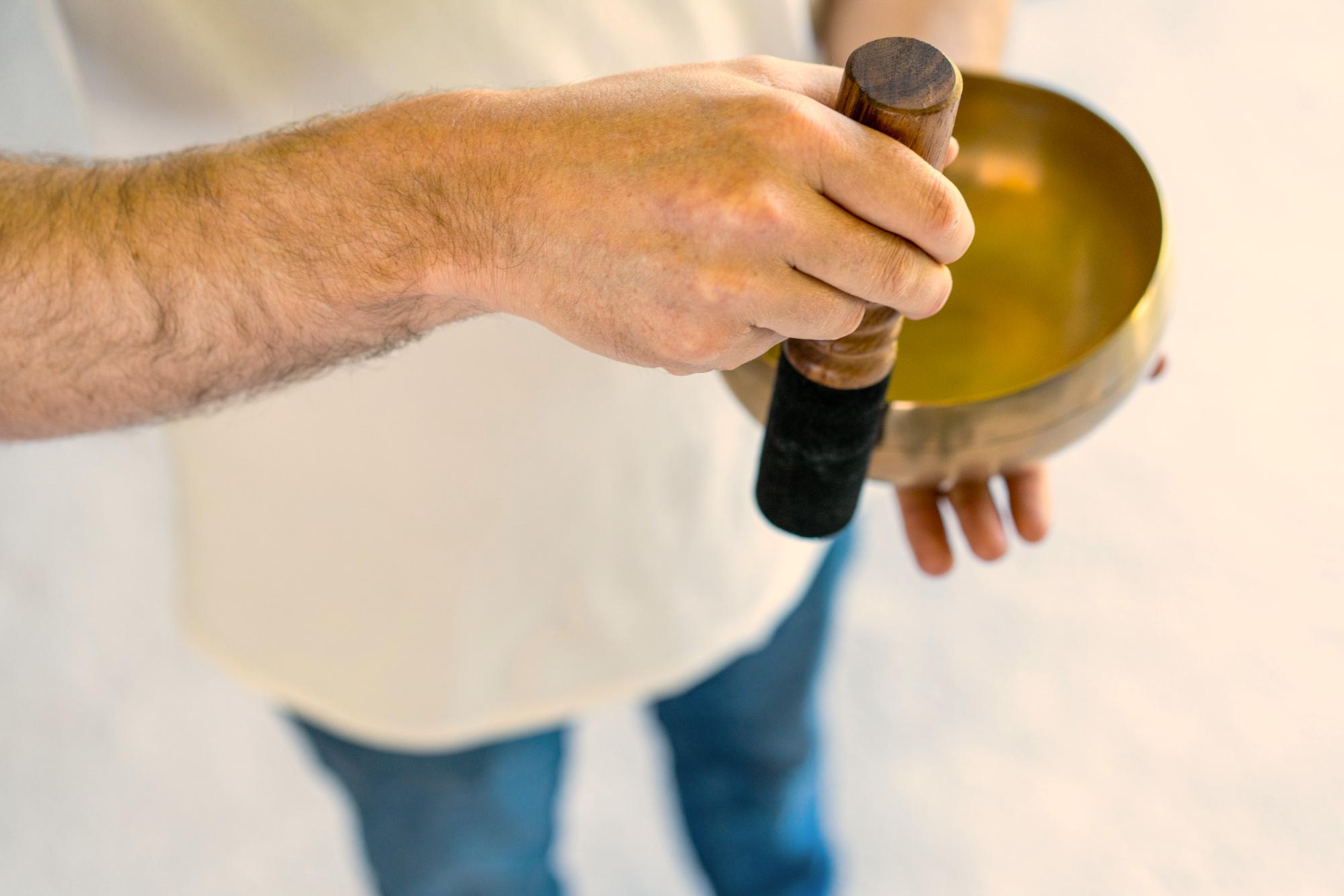Chris Playing Singing Bowl