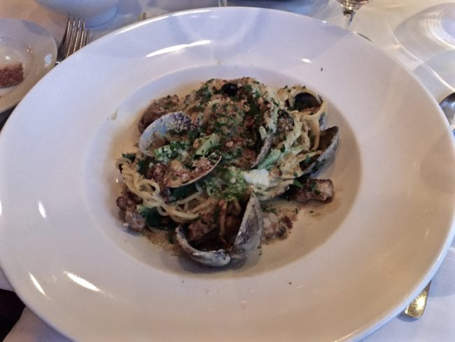 House-made Spaghettini Pasta; Manila clams, pork sausage, spinach and lettuce with oyster cream sauce terrapin creek cafe