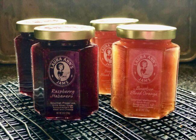 Raspberry Habanero Jam and Bourbon Blood Orange Jam Jars