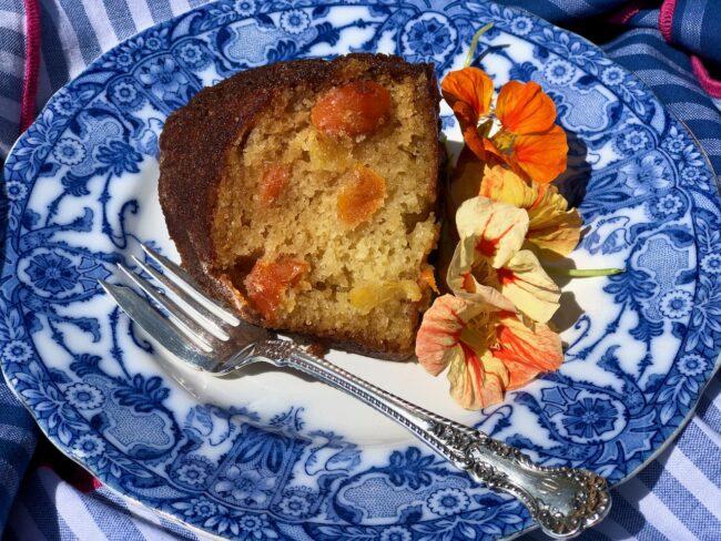 slice of citrus olive oil bundt cake on a plate