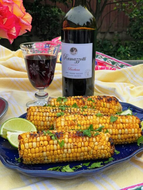 Jamie's Corn on the Cob with Chile Oil and Lime with a glass of red wine
