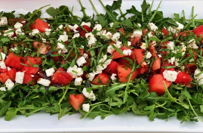 watermelon feta mint arugula salad up close