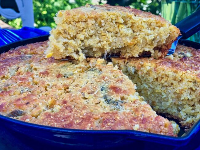 Skillet Hatch Chile Cornbread with Hatch Chile Honey Butter