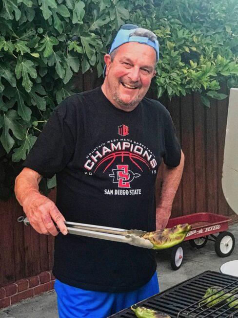Tom grilling Hatch Chilis