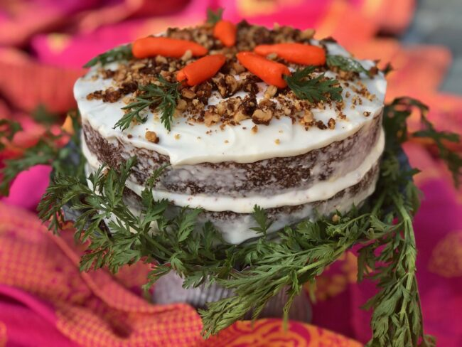 Hatch Chile Carrot Cake with Pineapple Cream Cheese Frosting and Hatch Chile Candied Walnuts