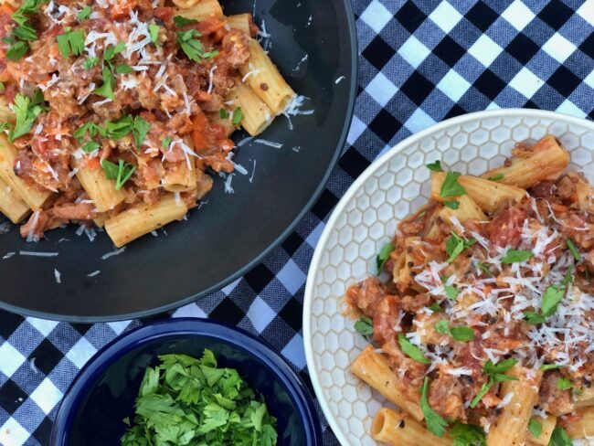 Rigatoni with sausage and fennel plates garnished