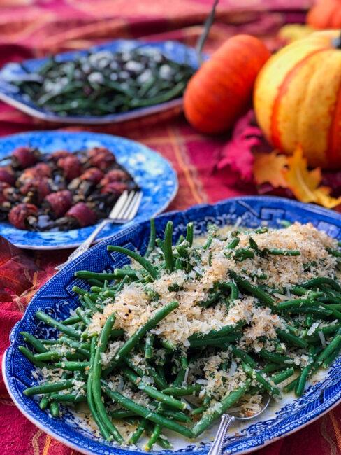 Green Beans with Meyer Lemon Vinaigrette and Parmesan Panko Crumbs ready to servce