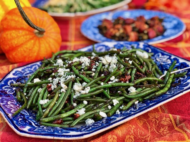 Green Beans with Pancetta, Shallots, and Pecans ready to serve