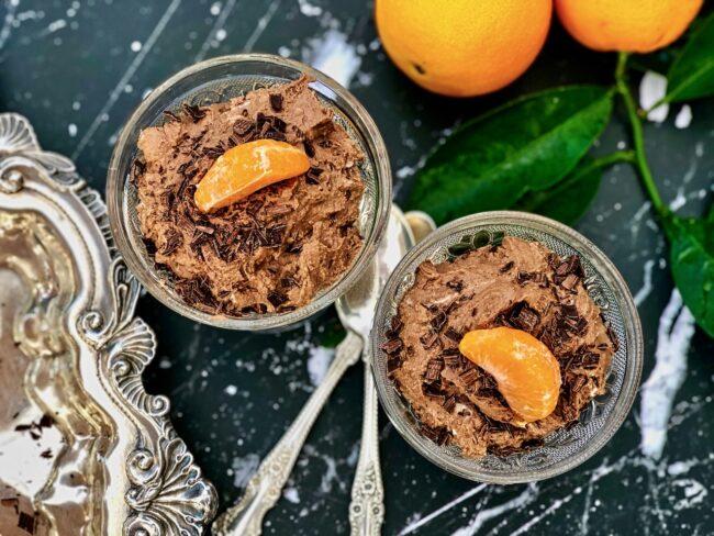 chocolate orange mousse garnishes