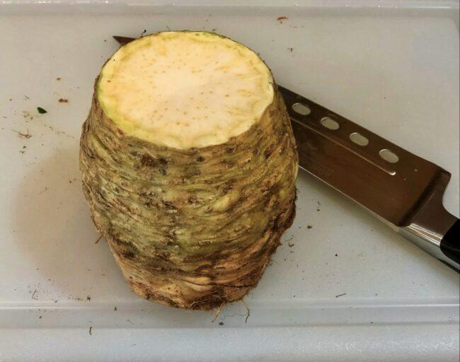 peeling celery root