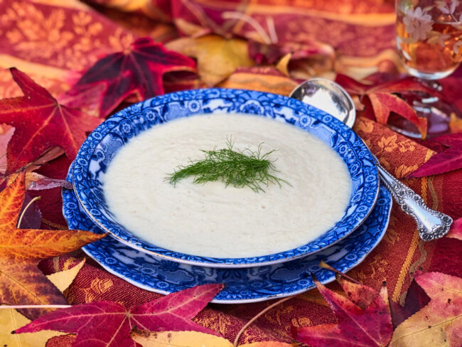 cream of celery root soup serving