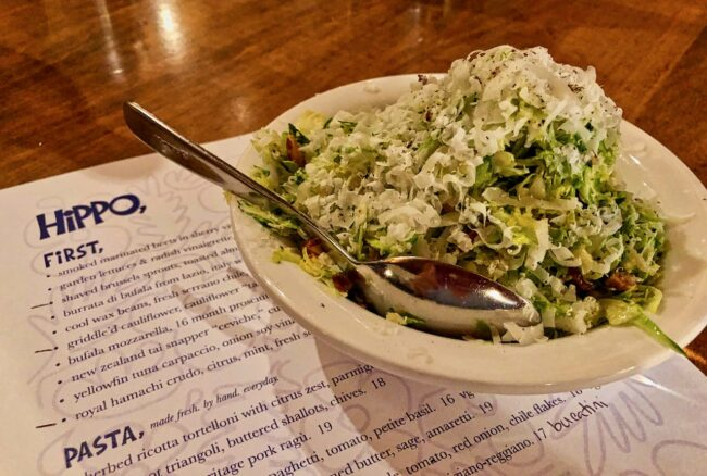 shaved brussels sprouts, toasted almonds, mint, lemon, and Parmigiano-Reggiano