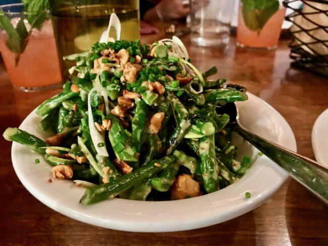 Cool Haricot Verts; fresh serrano chili, toasted hazelnuts, Frenchie vinaigrette