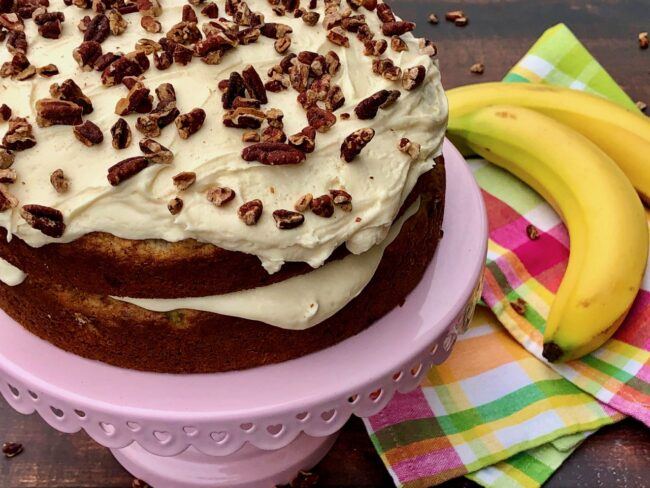 Banana Cake with Maple Buttercream Frosting
