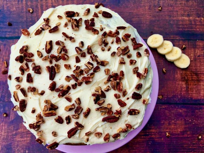 Banana Cake with Maple Buttercream Frosting ready