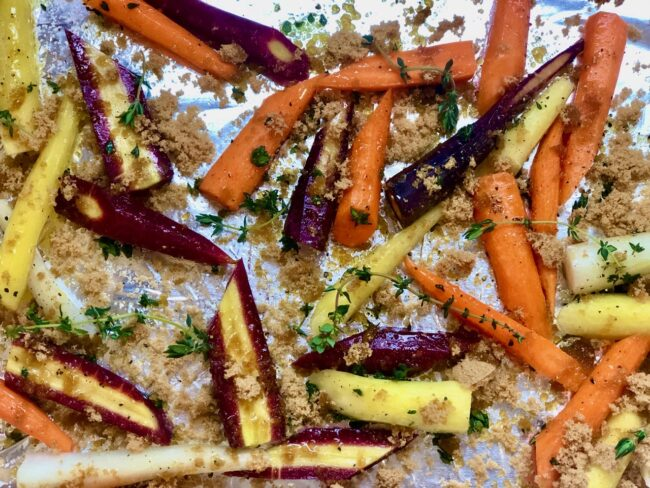 tossed carrots mixed with ingredients