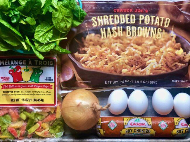 Potato, Soy Chorizo and Veggie Hash with Eggs Ingredients