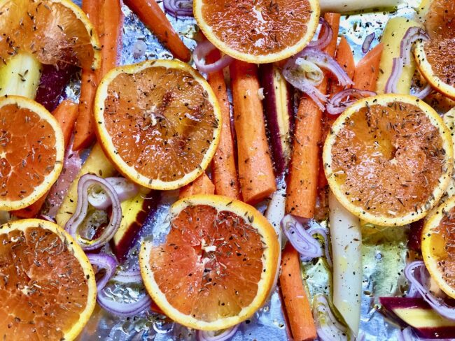 Orange rings over the roasted carrot ingredients