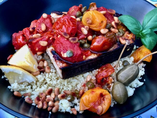 Marinated Grilled Swordfish with Blistered Tomatoes and Capers