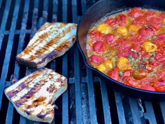 swordfish cooking on the grill