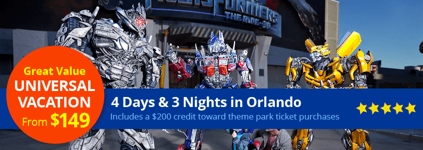 Universal Studios Orlando Vacation Package from $149 per family