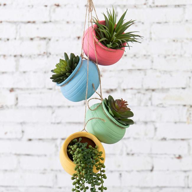 Ceramic Hanging Planter Set
