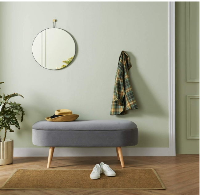 Harmati Velvet Storage Bench & Mirror