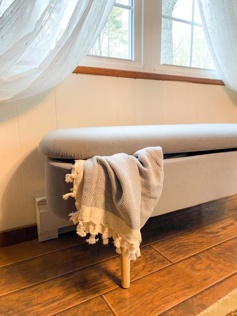 Harmati Velvet Storage Ottoman Bench