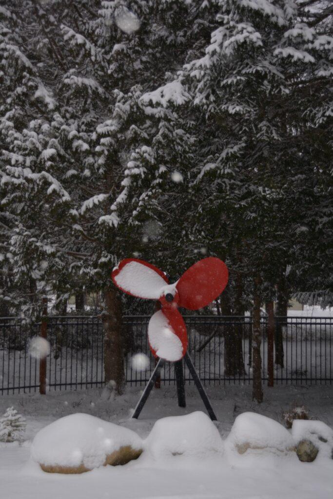 The Red Propeller, enjoying the snow.