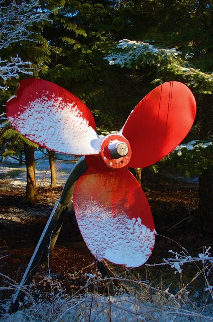 The Red Propeller, snow covered.