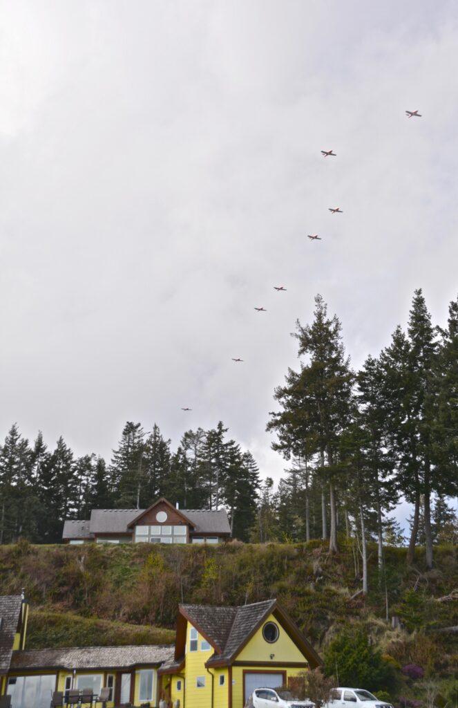 Snowbirds, lining up to land at CFB Comox