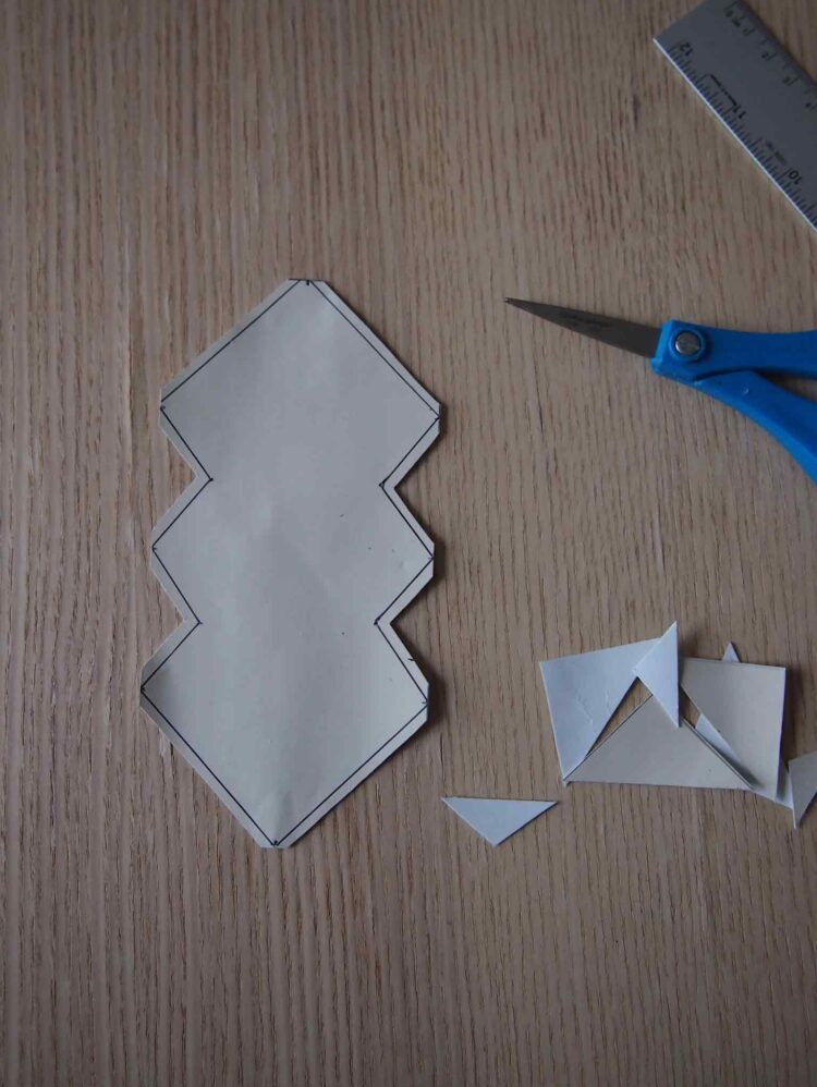 3   With scissors, cut 3mm outside of the line you drew.
