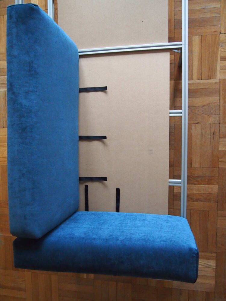 24   Select a few Velcro strips to extend and attach a long piece of Velcro. Glue opposing sides of Velcro in the same length to the MDF board and attach the Velcro from the cushion to the board. This should will help keep the cushions from sliding out of place.