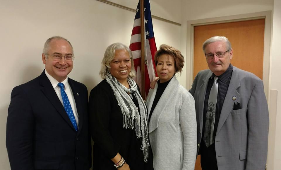 Rep Kent Smith, Club President Kandace Jones, Immediate Past President Stephana Childs Caviness, Senator Kenny Yuko.