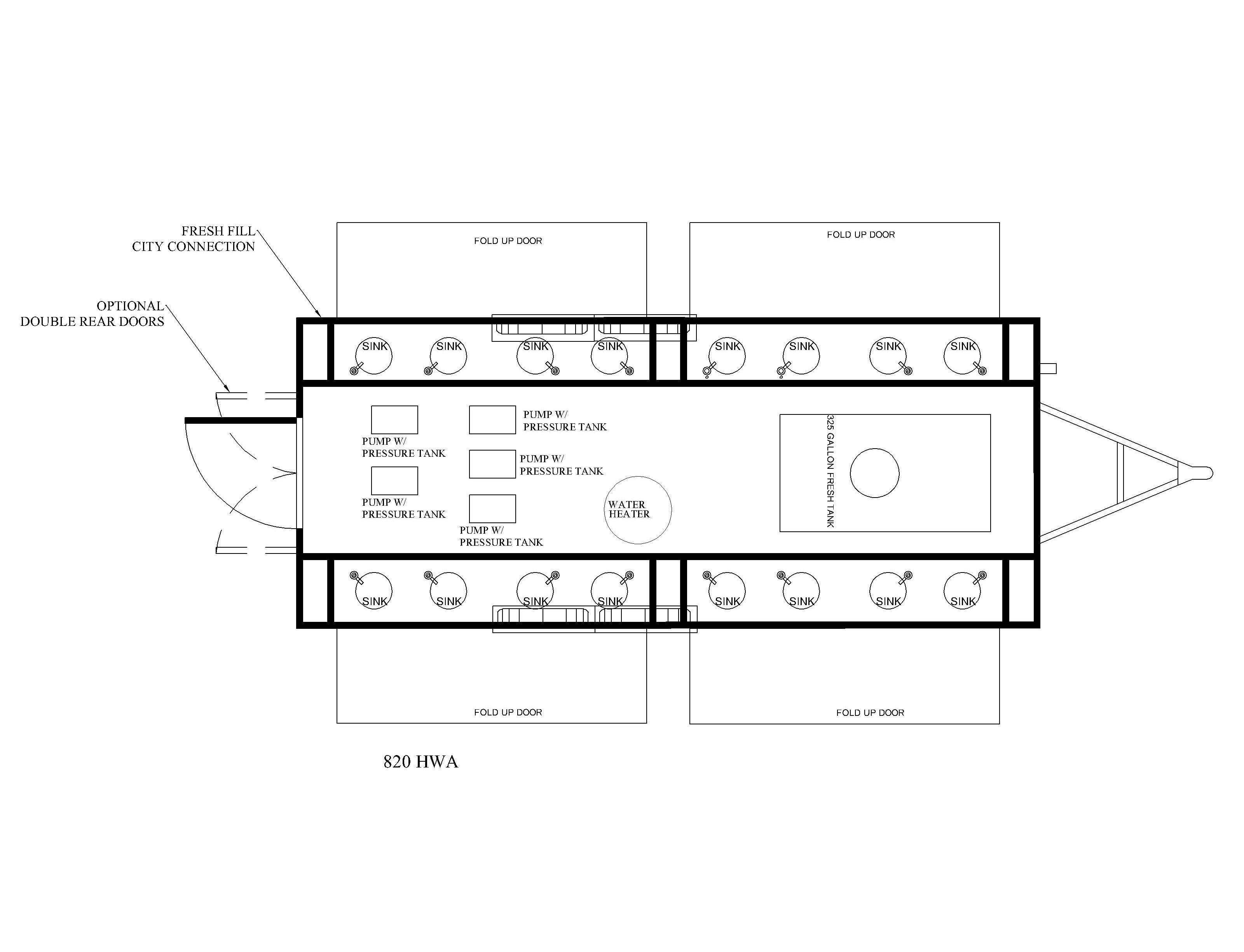 16 station hand washing trailer floor plan