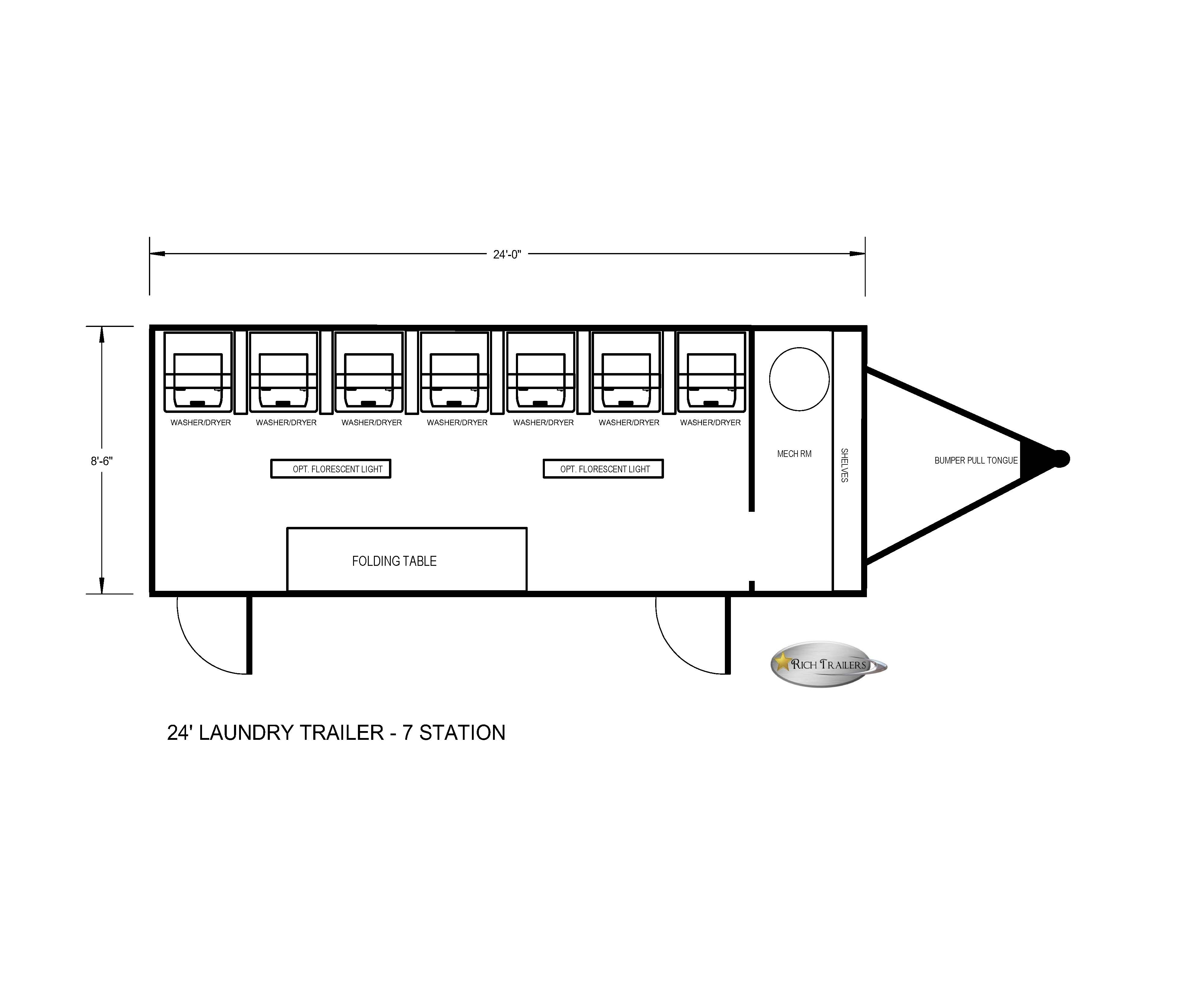 Laundry trailer with 7 stackable washers and dryers