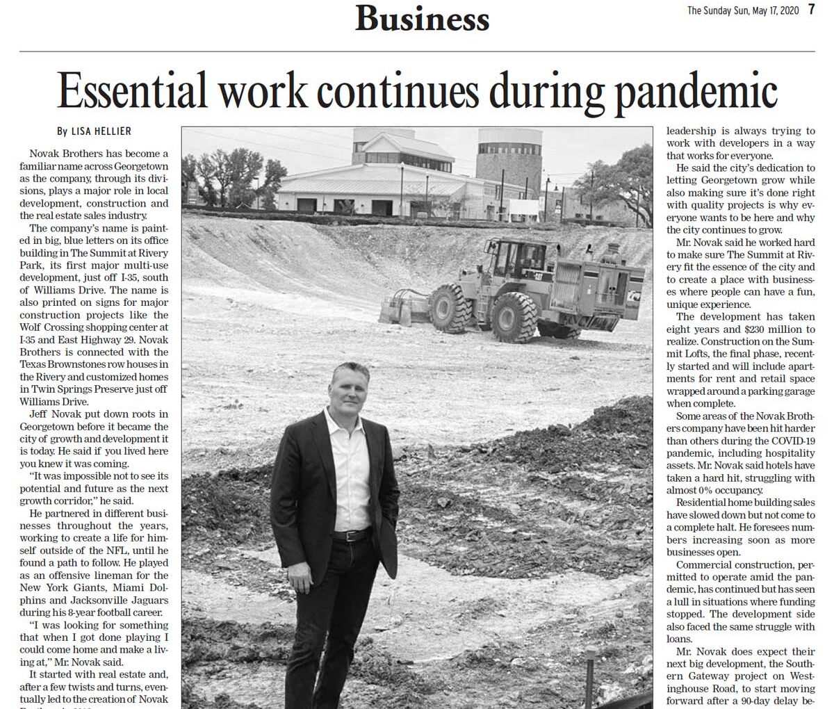 Georgetown Sun: Essential Work Continues During Pandemic